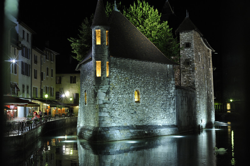 "The Palais de l'Isle, also called the ""old prison"", at night. Annecy, France."
