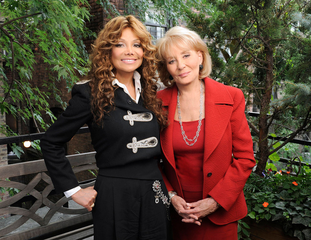 ". In this photo released by ABC, La Toya Jackson, left, poses with Barbara Walters during the taping of an interview where she discusses the death of her brother, pop icon Michael Jackson, for ABC News\'  ""20/20\"", airing Friday, Sept. 11, 2009, at  10:00 p.m. EDT.  (AP Photo/ABC, Donna Svennevik)"