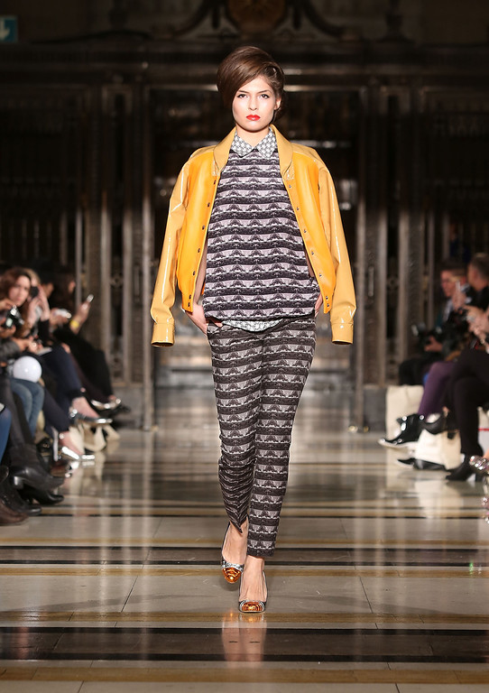 . A model walks the runway at the Ong-Oaj Pairam show at the Fashion Scout venue during London Fashion Week AW14 at Freemasons Hall on February 14, 2014 in London, England.  (Photo by Tim P. Whitby/Getty Images)