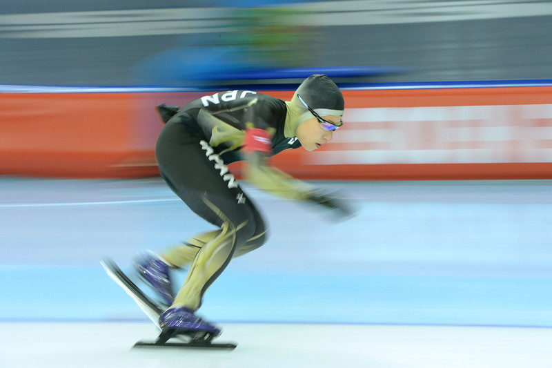 . Japan\'s Shoko Fujimura competes in the Women\'s Speed Skating 5000 m at the Adler Arena during the Sochi Winter Olympics on February 19, 2014.  (JUNG YEON-JE/AFP/Getty Images)