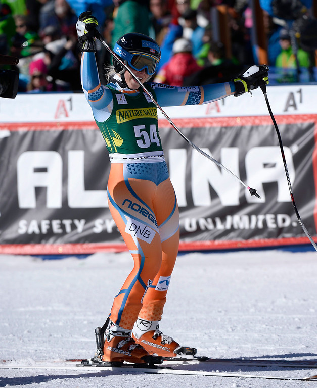 . Ragnhild Mowinchkel of Norway reacts in the finish area of the women\'s downhill race at the FIS World Cup Alpine Skiing in Beaver Creek, Colorado, USA, 29 November 2013.  EPA/JOHN G. MABANGLO