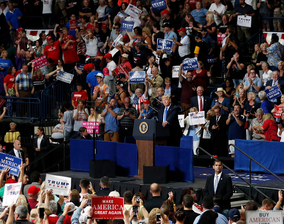 . President Donald Trump pauses as he speaks during a Make America Great Again rally, Tuesday, July 25, 2017, at the Covelli Centre in Youngstown, Ohio (AP Photo/Carolyn Kaster)