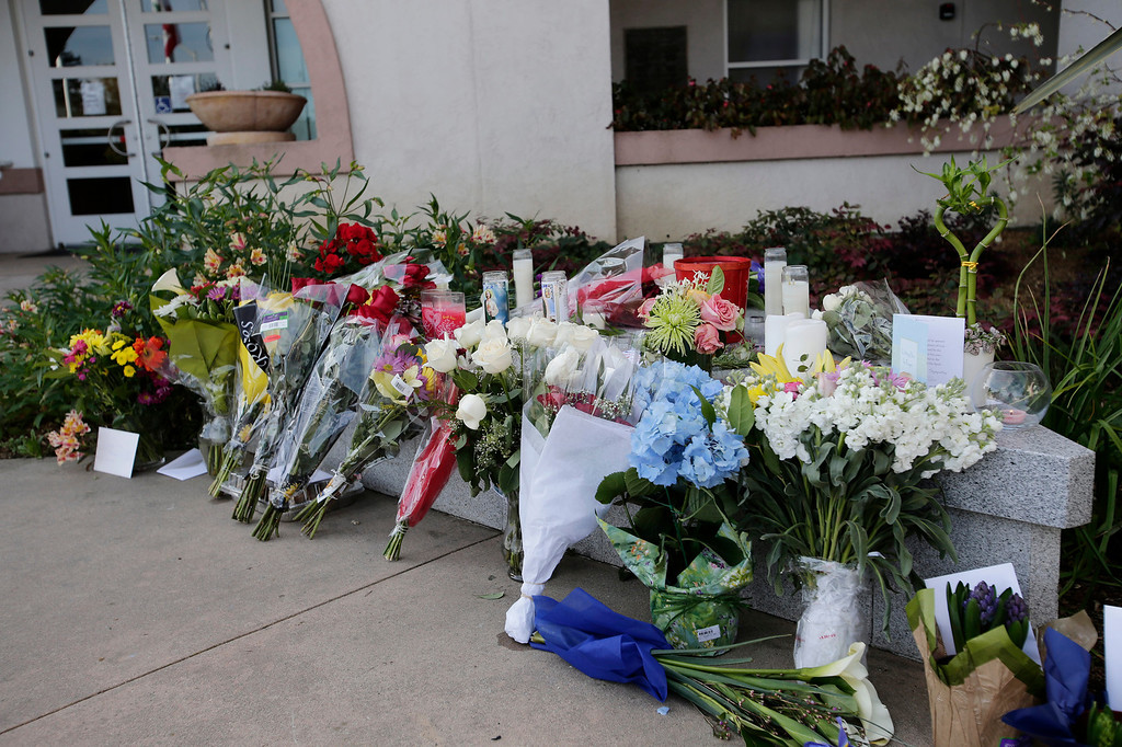 """. A makeshift memorial for slain Santa Cruz police officers, detective <a href=\""""http://www.santacruzsentinel.com/localnews/ci_22676928/loran-butch-baker-28-year-veteran-leaves-legacy\"""">Sgt. Loran \""""Butch\"""" Baker</a> and detective <a href=\""""http://www.santacruzsentinel.com/localnews/ci_22676931/santa-cruz-police-detective-elizabeth-butler-policing-was\"""">Elizabeth Butler</a> in front of the police department in Santa Cruz, Calif. on Wednesday, Feb. 27, 2013. The pair were <a href=\""""http://www.santacruzsentinel.com/localnews/ci_22674808/breaking-2-officers-1-suspect-shot-santa-cruz\"""">gunned down yesterday</a while investigating a possible domestic violence or sexual assault when a suspect fired at them. The gunman, Jeremy Peter Goulet, was later gunned down when he exchanged gunfire with police during a manhunt. (Gary Reyes/ Staff)"""