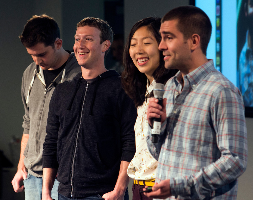 . Facebook\'s Mark Zuckerberg, second from left, announced a new look to Facebook\'s News Feed on Thursday morning, including more control for users, and more emphasis on photos and videos during a launch event hosted at Facebook in Menlo Park, Calif., on Thursday, March 7, 2013. (John Green/Staff)