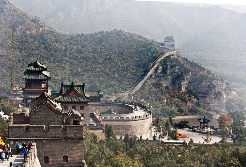 a portion of the Great Wall of China, a portion of the Great Wall of China
