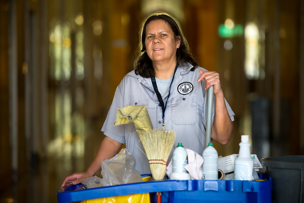 . Sanjuana Salas is a custodian at L.A. City Hall. Tuesday, March 18, 2014. (Photo by Michael Owen Baker/L.A. Daily News)