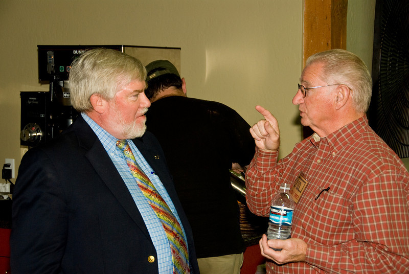 Photos from Community Open House and Ribbon Cutting for 210 4-03-2008.Fred making an exciting point with Paul Hurley, Visalia Times delta.