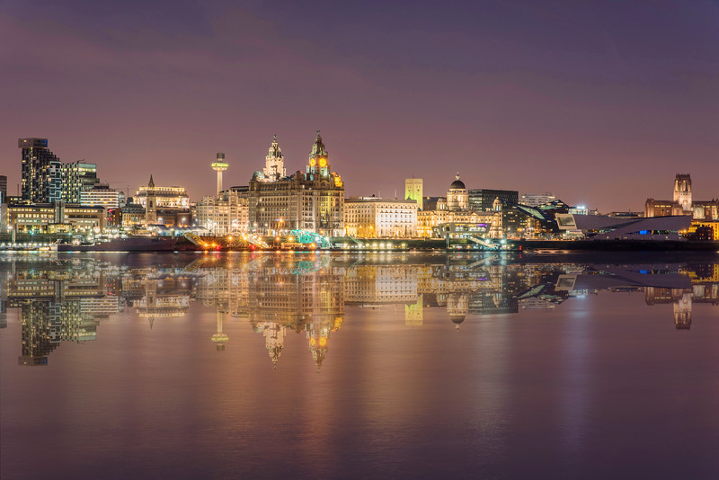 Liverpool Waterfront Reflections at Night