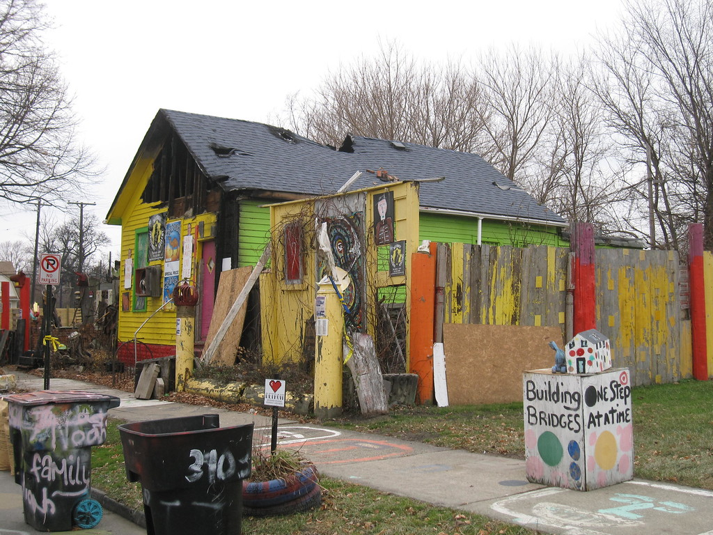 . This Dec. 3, 2014 photo shows a structure that is part of the Heidelberg Project in Detroit. The open-air project uses abandoned buildings and discarded objects to create urban art. Although the project has been plagued by arson, it remains a colorful, symbolic effort to transform the city�s blight. (AP Photo/Beth J. Harpaz)