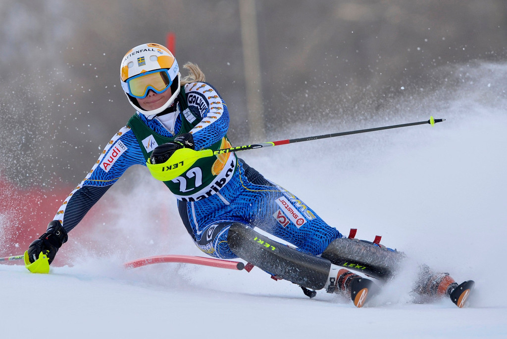. Nathalie Eklund of Sweden clears a gate during the first run of the Alpine Skiing World Cup women\'s slalom ski race in Maribor January 27, 2013. REUTERS/Srdjan Zivulovic