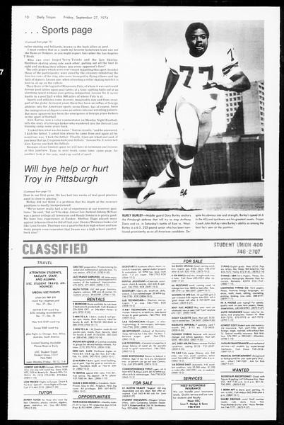 Daily Trojan, Vol. 67, No. 10, September 27, 1974