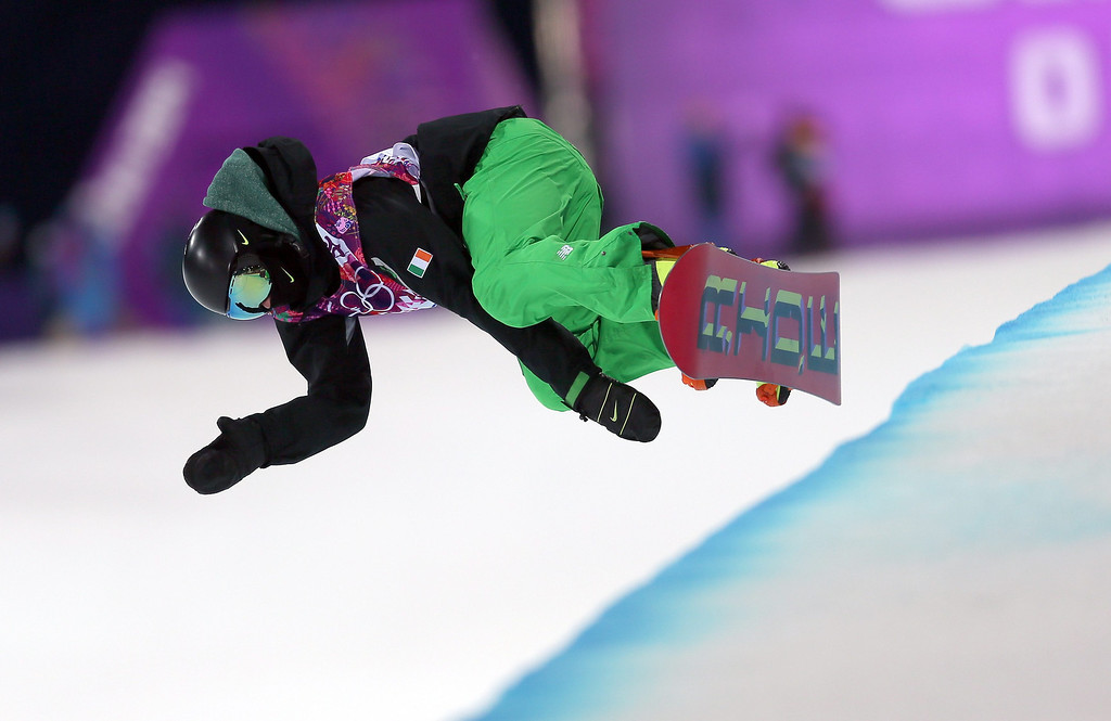 . Seamus O\'Connor of Ireland in action during the Mens Snowboard Halfpipe Semifinals at Rosa Khutor Extreme Park at the Sochi 2014 Olympic Games, Krasnaya Polyana, Russia, 11 February 2014.  EPA/SERGEY ILNITSKY