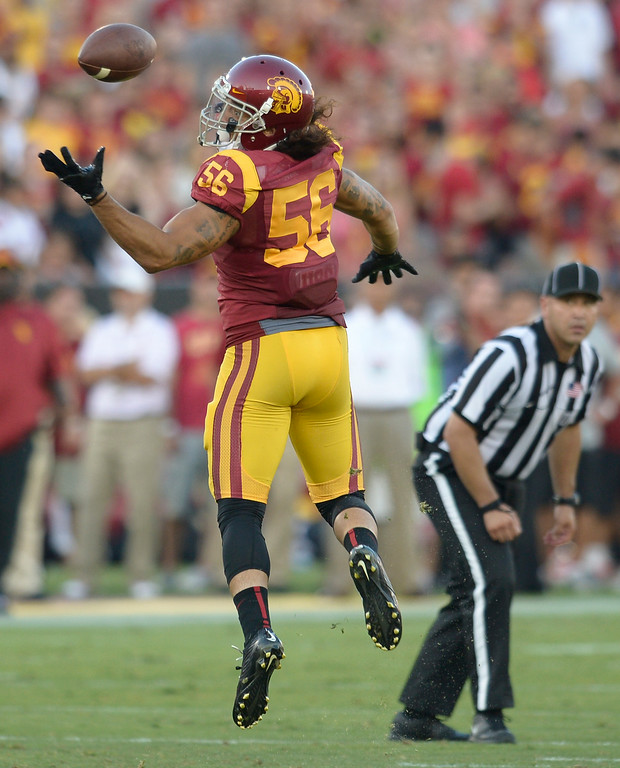 . Anthony Sarao intercepts a pass in the 3rd quarter. USC defeated Fresno State 52-13 at the Los Angeles Memorial Coliseum. Los Angeles, CA. 8/30/2014(Photo by John McCoy Daily News