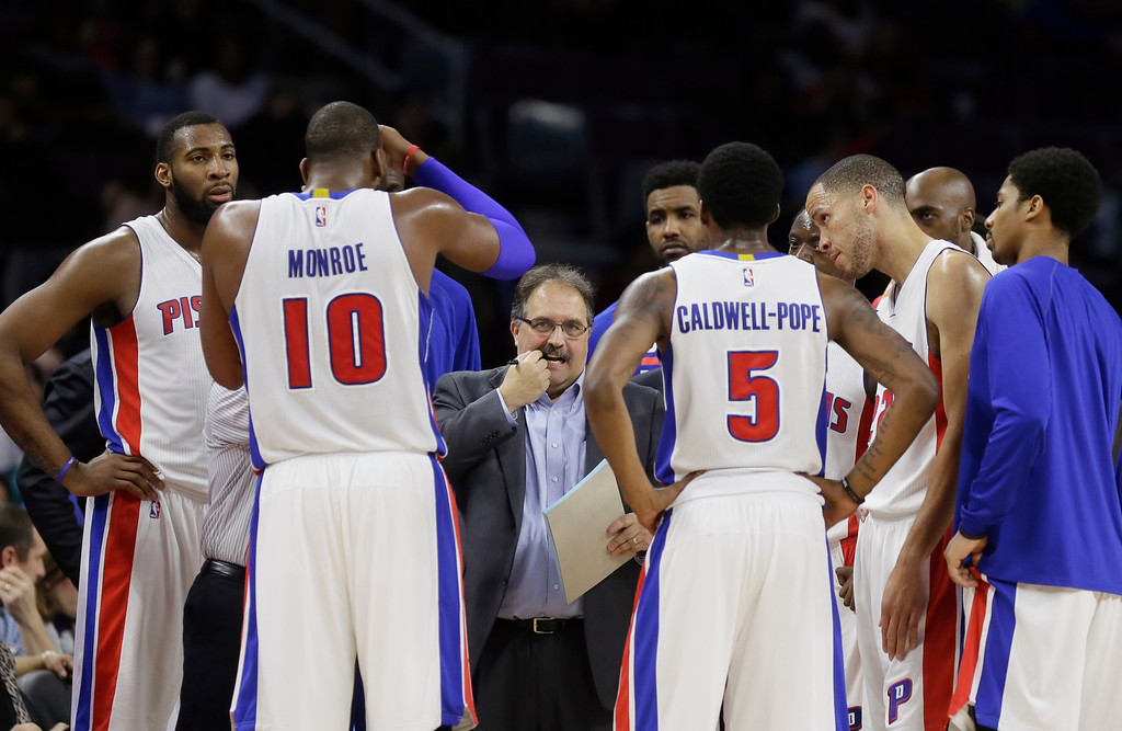 . Detroit Pistons head coach Stan Van Gundy draws up a play during the second half of an NBA basketball game against the New York Knicks, Friday, Feb. 27, 2015 in Auburn Hills, Mich. The Knicks defeated the Pistons 121-115 in double overtime. (AP Photo/Carlos Osorio)