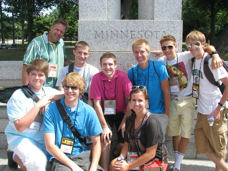 Cabot and the Dist. 1, 2, 4 and 6'ers at the WWII memorial: Cabot, Nick, Chris, Ian, Connor, Chris, Danny, Luke and Whitney