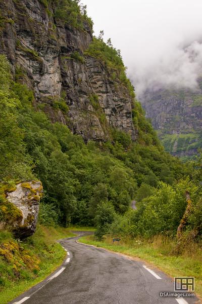 Road beside Lake Lovatn