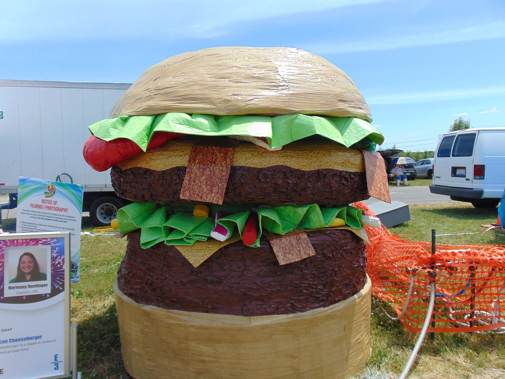 . University of Cincinnati students created Duck Tape artwork -- including this burger -- that was displayed around Veterans Memorial Park during the 13th annual Avon Heritage Duck Tape Festival in 2016. The 14th annual Avon Heritage Duck Tape Festival will be June 16-18. For more information, visit www.ducktapefestival.com. (Morning Journal file)