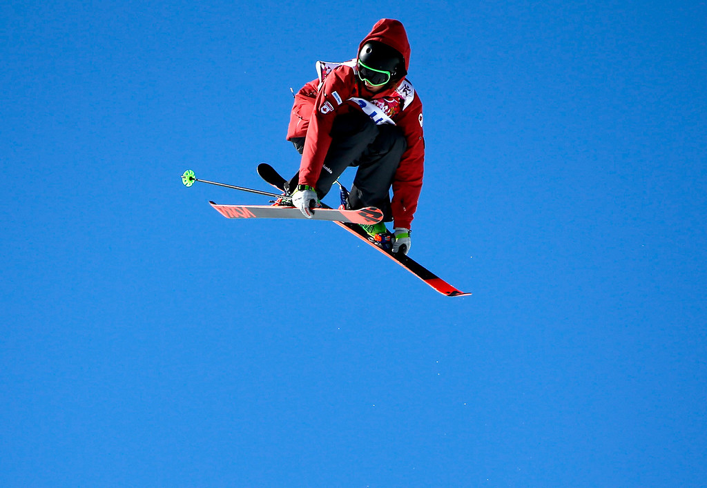 . Alex Beaulieu-Marchand of Canada in action during the Men\'s Freestyle Skiing Slopestyle qualification in the Rosa Khutor Extreme Park at the Sochi 2014 Olympic Games, Krasnaya Polyana, Russia, 13 February 2014.  EPA/VALDRIN XHEMAJ
