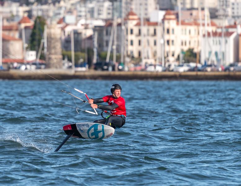 Joey Pasquali Foiling Kiteboard Racing on San Francisco Bay.