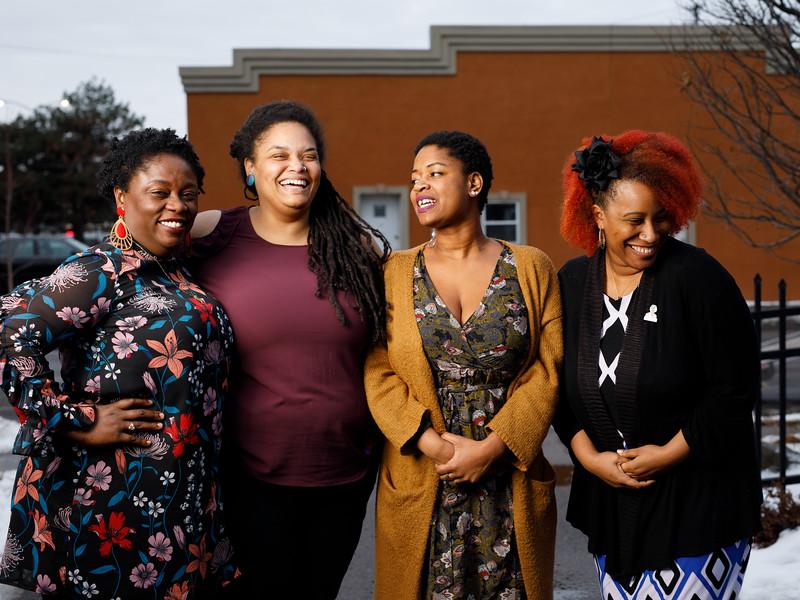 Andrea Pierre, Junauda Petrus, Aisha Mgeni, and Erin Sharkey