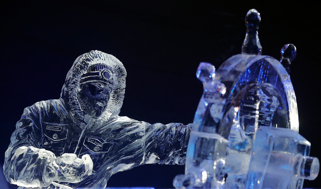 . An ice sculpture of a boat captain is displayed  at the launch of Hyde Park Winter Wonderland\'s Magical Ice Kingdom in London, Thursday, Nov. 17, 2016. This years Winter Wonderland starts on November 18,2016 and lasts until January 2, 2017. (AP Photo/Frank Augstein)