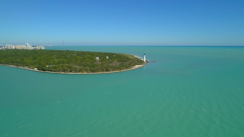 Aerial drone footage Cape Florida Bill Baggs State Park lighthouse