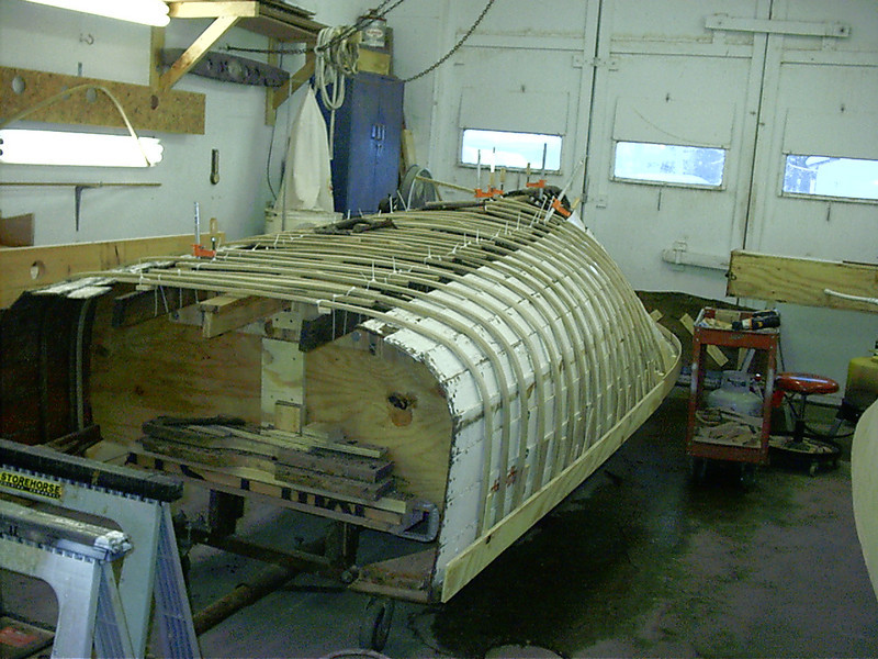 Port side new ribbs steamed around the outside of the hull.