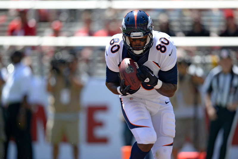 . Denver Broncos tight end Julius Thomas (80) catches a touchdown pass int he back of the end zone during the second quarter against the San Francisco 49ers August 17, 2014 at Levi\'s Stadium. (Photo by John Leyba/The Denver Post)