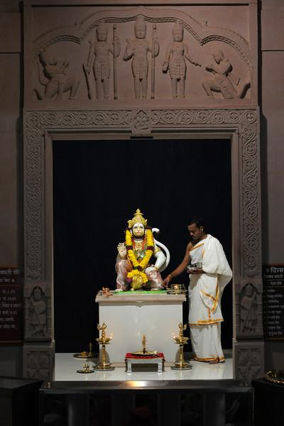 Hanumanji at Chinmaya Maruti Mandir which was inaugurated on 25th Dec 2005 by H. H. Swami Tejoymayananda. The Hanuman Mandir is located at the entrance to Chinmaya Vibhooti, Kolwan. Maharashtra, MH, India.