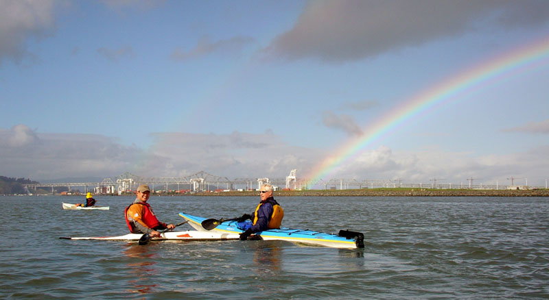 Albert and Dan under the rainbow.