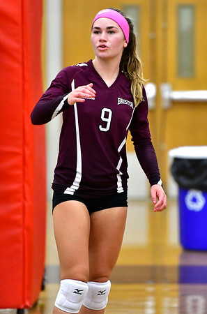 10/1/2019 Mike Orazzi | StaffrBristol Central's Ashleigh Clark (9) during Tuesday's volleyball match with Platt at BC.