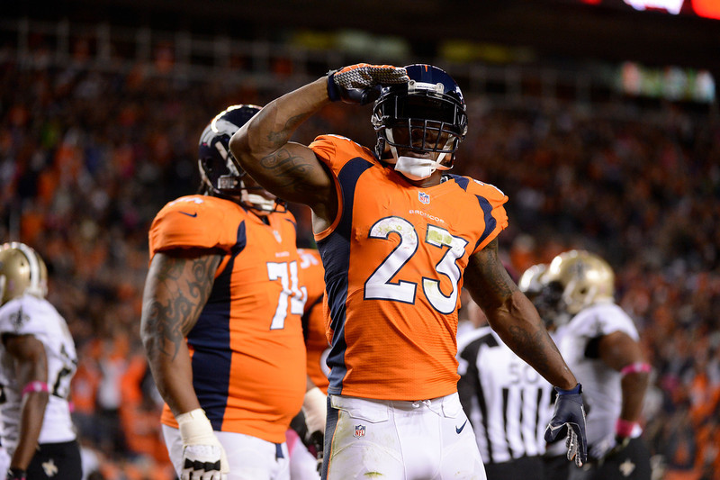 . Willis McGahee celebrates a touchdown that was later overturned in the first quarter as the Denver Broncos took on the New Orleans Saints at Sports Authority Field at Mile High in Denver, Colorado on October 28, 2012. John Leyba, The Denver Post