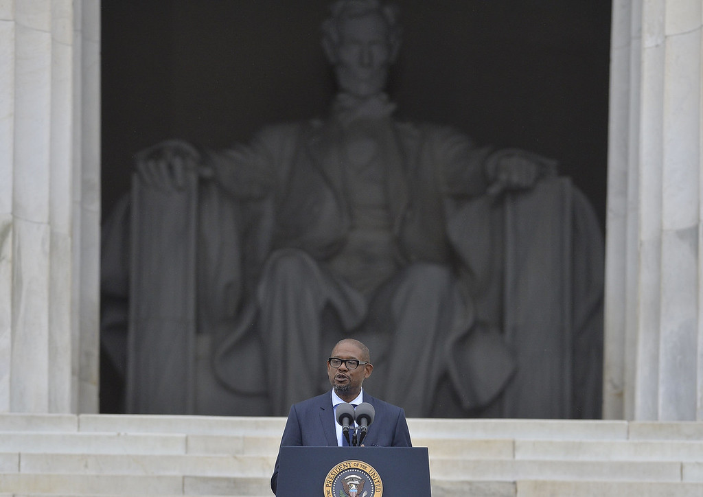 . US actor Forest Whitaker speaks during the Let Freedom Ring Commemoration and Call to Action to commemorate the 50th anniversary of the March on Washington for Jobs and Freedom at the Lincoln Memorial in Washington, DC on August 28, 2013. The March on Washington is best remembered for King\'s stirring vision of a United States free of inequality and prejudice, telecast live to a nation undergoing a phenomenal decade of soul-ching, crisis and change.   JEWEL SAMAD/AFP/Getty Images