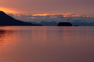 Sunset with the Chilkat Mountains May 2012, Cynthia Meyer, Juneau, Alaska