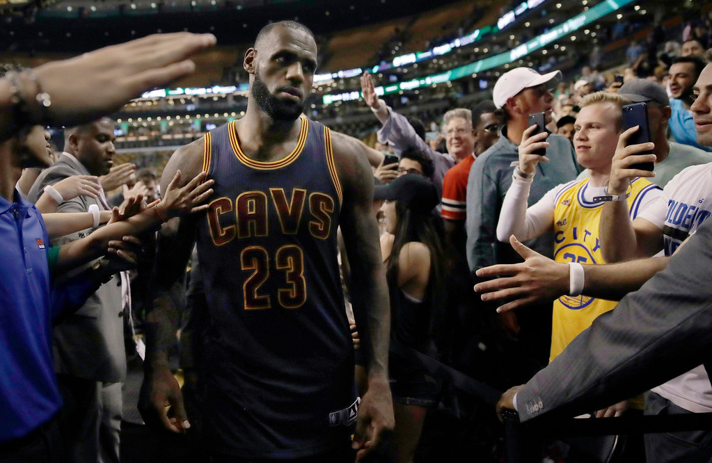 . Cleveland Cavaliers forward LeBron James leaves the court after Game 1 of the NBA basketball Eastern Conference finals against the Boston Celtics, Wednesday, May 17, 2017, in Boston. The Cavaliers won 117-104. (AP Photo/Charles Krupa)