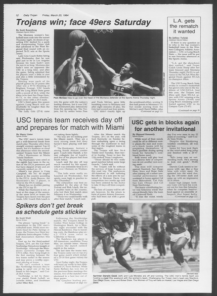 Daily Trojan, Vol. 95, No. 52, March 23, 1984