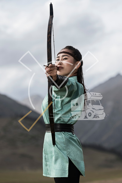 Archer from Mongolia dressed up in her traditional archering outfit, when participating at the World Nomad Games 2018 in Kyrgyztan