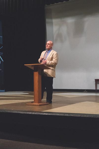 Dr. Michael Saenger, Associate Professor of English from Southwestern University speaks to students during the William Shakespeare's Birthday Celebration.
