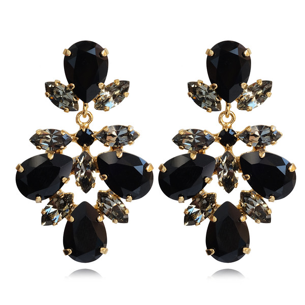 Selene Earrings / Jet + Black Diamond / Gold