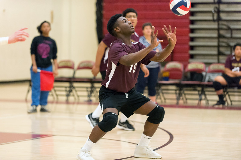 04/03/19  Wesley Bunnell | Staff  New Britain boys volleyball was defeated at home by Bloomfield on Wednesday evening. Jerry Chungong (19).