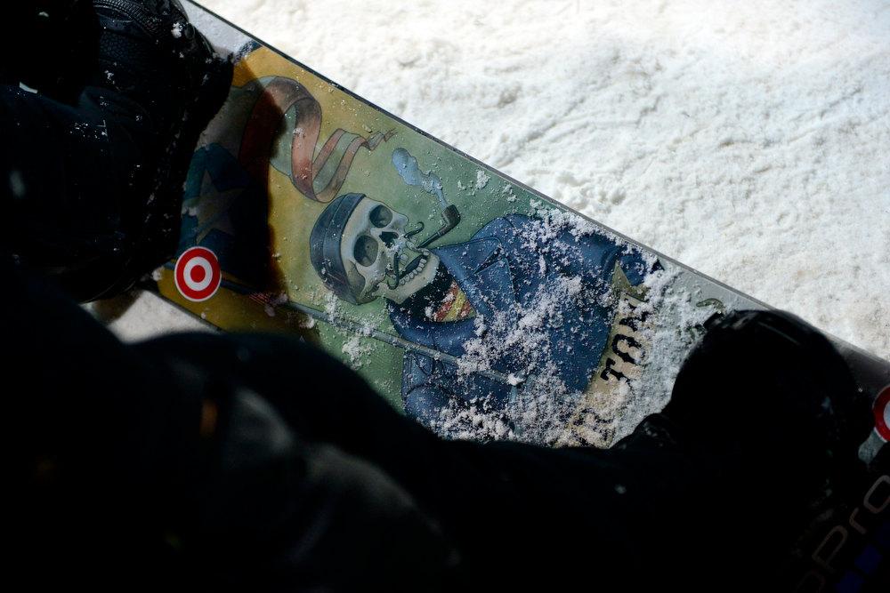 Description of . ASPEN, CO. - JANUARY 24: Shaun White's snowboard during the men's Snowboard Superpipe elimination. Men's Snowboard Slopestyle elimination X Games Aspen Buttermilk Mountain Aspen January 24, 2013 (Photo By AAron Ontiveroz / The Denver Post)