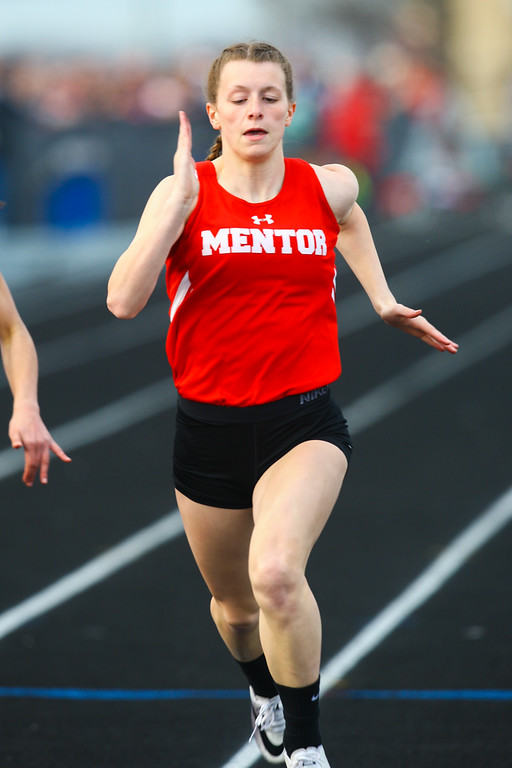 . 2018 - Track and Field - Willoughby South Invitational. 100 Meter dash winner, Paige Floriea from Mentor 12.34.