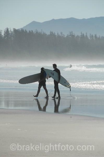 Surfers at Long Beach, Tofino, BC