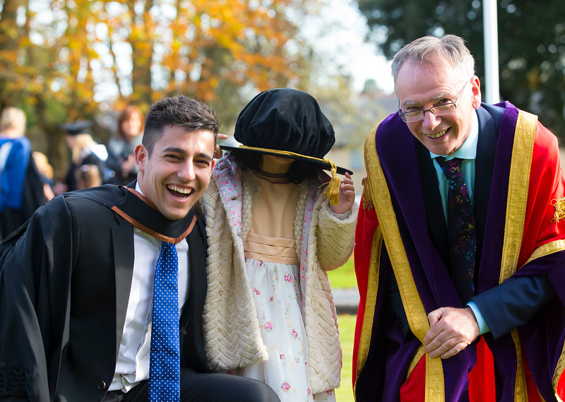 03/11/2016. Waterford Institute of Technology (WIT) Conferring Ceremonies November 2016:  Pictured is Erik Horvath from Kilkenny who graduated BA (Hons) in Criminal Justice Studies with his sister Emily and Prof. Willie Donnelly, President of WIT. Picture: Patrick Browne