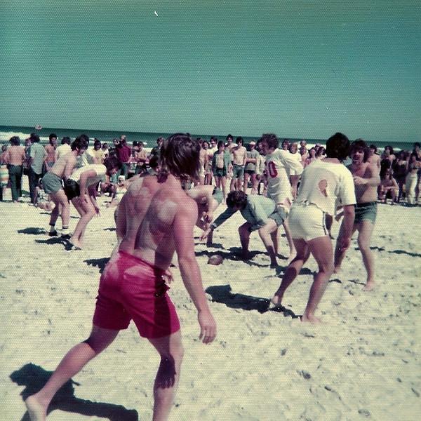 Slow motion football on the beach