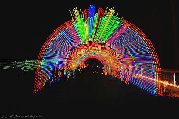 The Rainbow Tunnel to the Land of Oz at the Lights on the Lake holiday display in Onondaga Lake Park in Liverpool, New York.