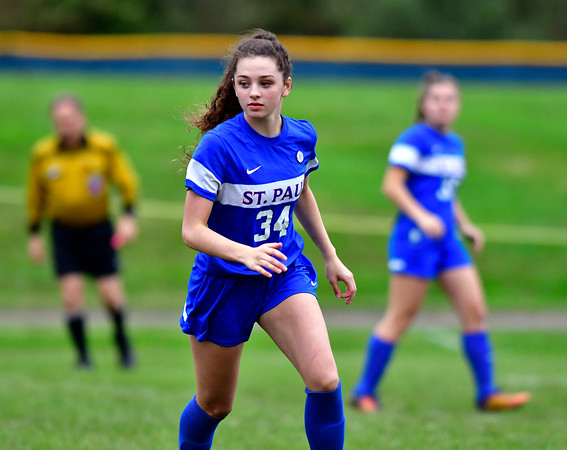 10/6/2018 Mike Orazzi | Staff St. Paul Girls Soccer's Hannah Stanford (34) Saturday.