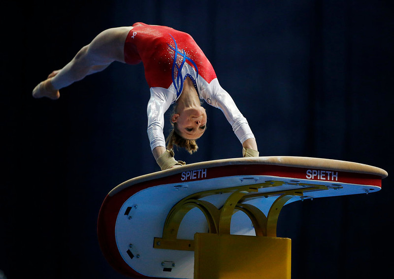 . Noel van Klaveren of the Netherlands competes on the vault during the women\'s apparatus finals at the European Men\'s and Women\'s Artistic Gymnastic individual Championships in Moscow April 20, 2013.  REUTERS/Grigory Dukor
