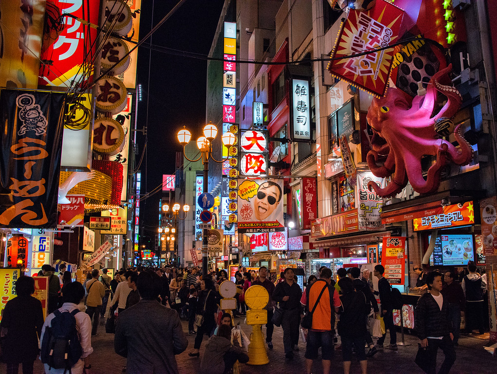 Dotonburi Shopping Street at Night, Osaka, Japan - 2014