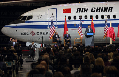 Chinese president Xi Jinping speaks and tours the Boeing Commercial Airplanes widebody jetliner manufacturing plant at Paine Field in Everett, Washington